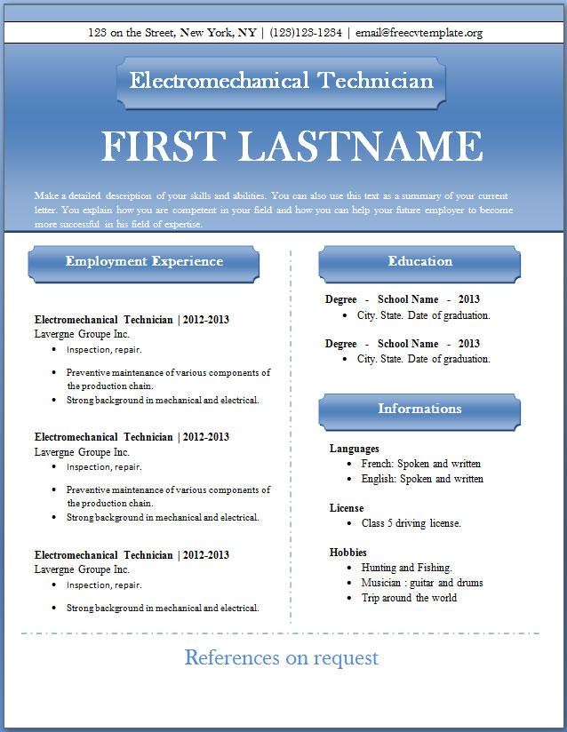 Free CV templates #43 to 49