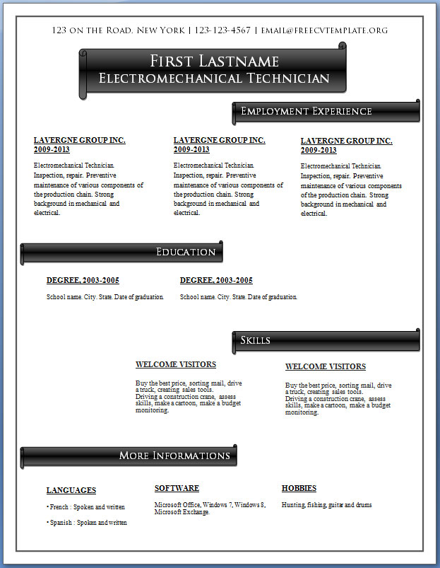 Free CV Templates #57 to 63