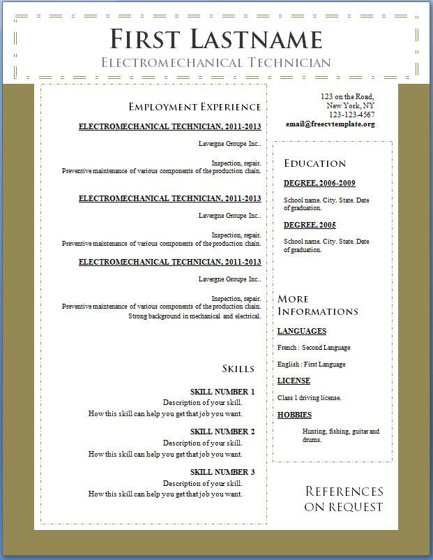 Free CV template #100 to 106 • Get A Free CV