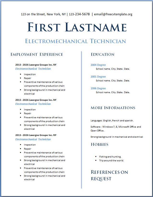 Free CV template #114 to 120