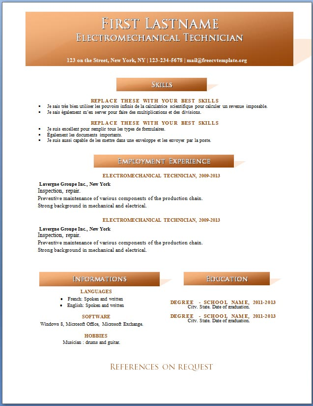 Free CV template #121 to 127