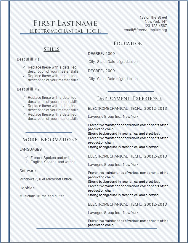 Free CV Resume Templates #135 to 141