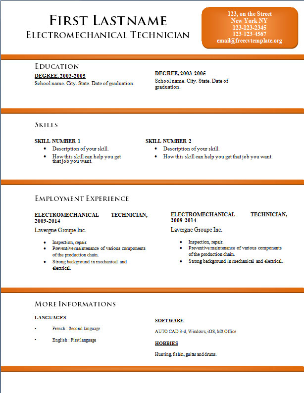 Free CV resume templates #170 to 176