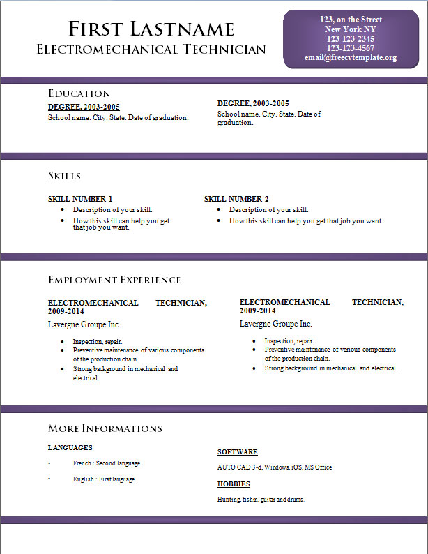 free cv resume templates  170 to 176  u2022 get a free cv