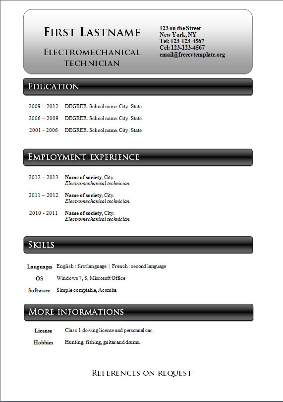 Free cv templates #233 to 239