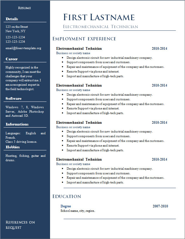 Free resume cv templates #296 to 302