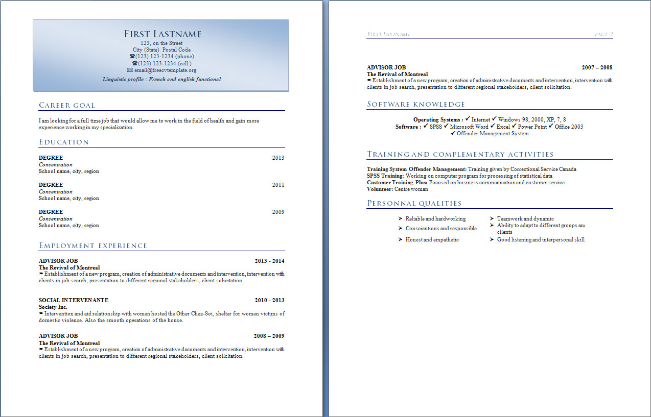 Resume templates #316 to 321
