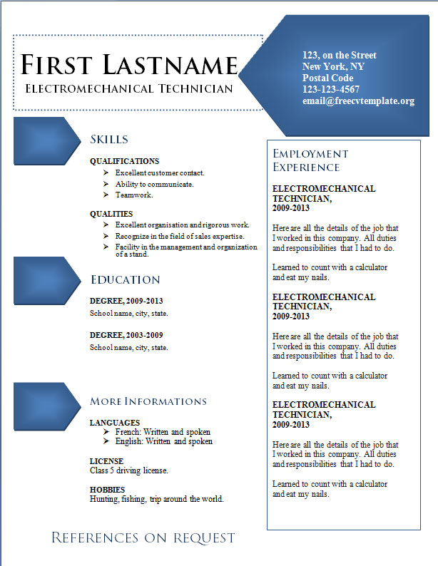 Free Resume Templates #322 to 327