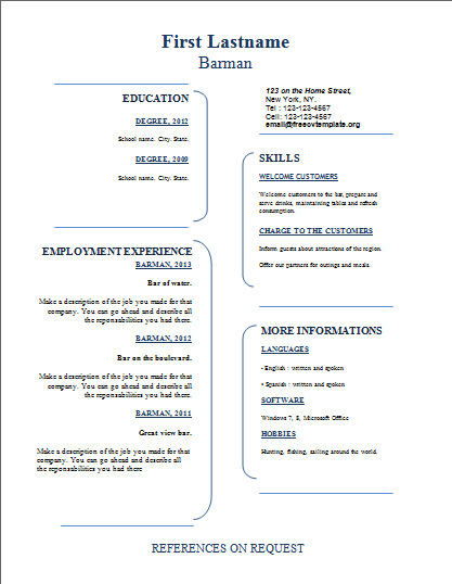 Free resume templates #335 to 340