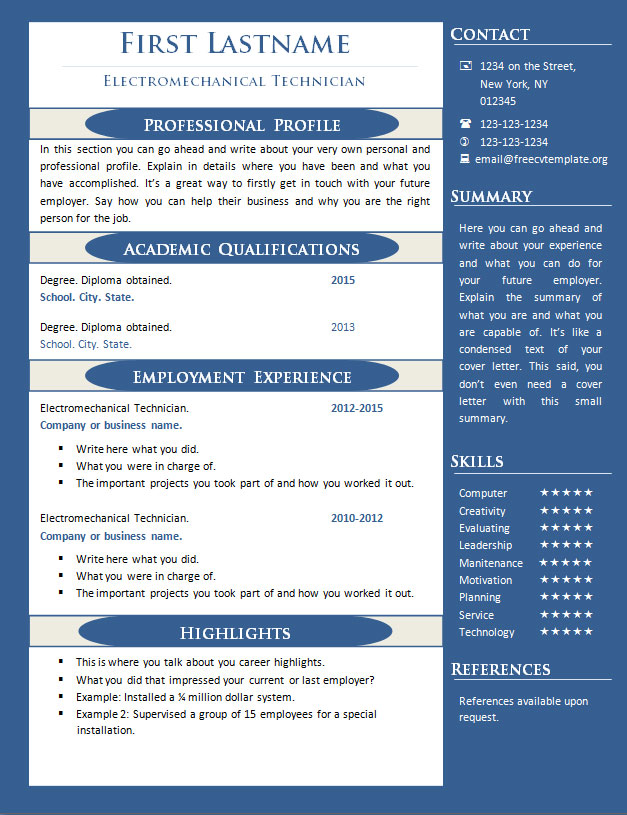 Free cv resume templates #347 to 352