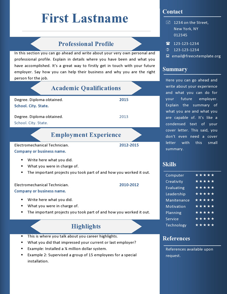 Free cv resume templates #360 to 366