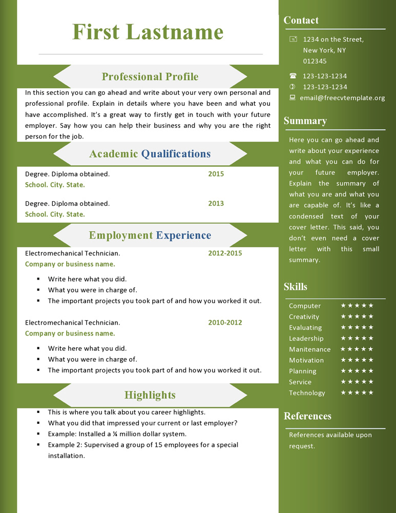Free Cv Resume Templates 360 To 366 Get A Free Cv