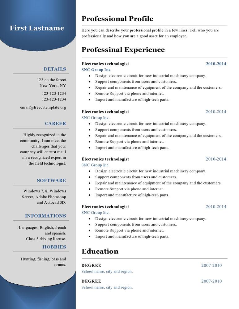 Resume templates #380 to 385