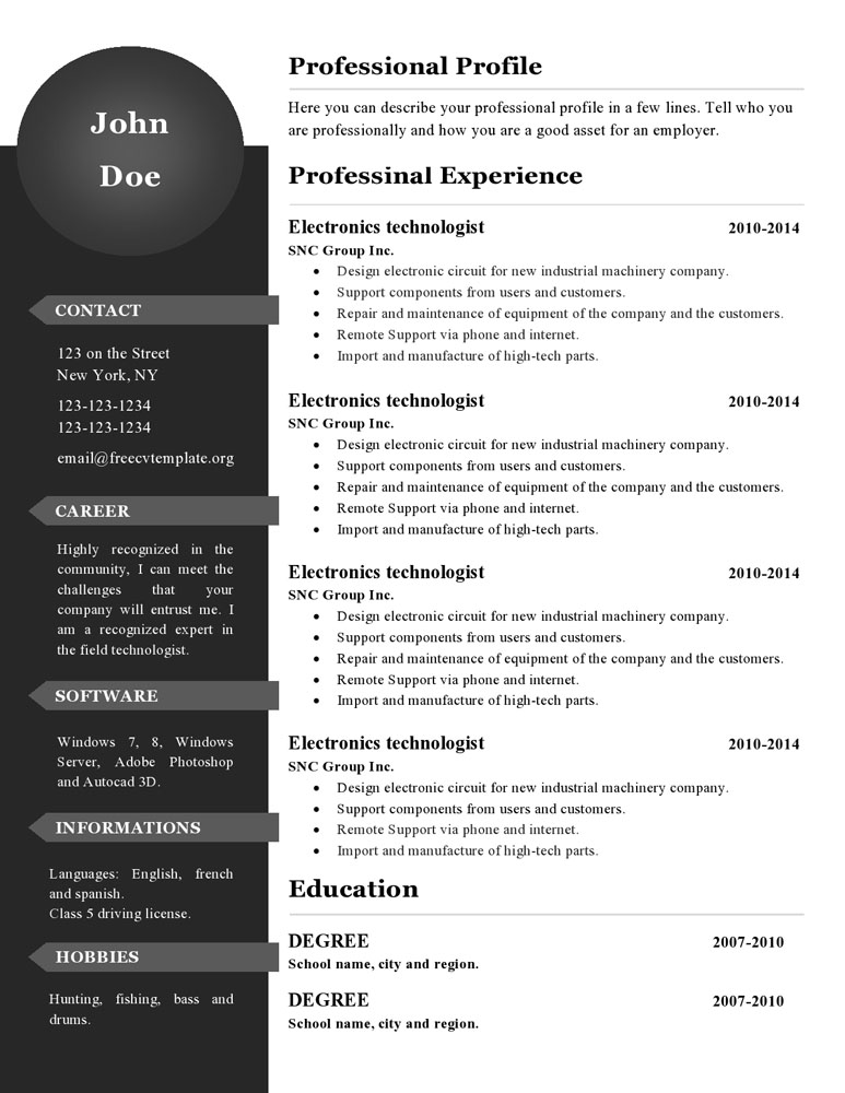 curriculum vitae resume templates  386 to 391  u2022 get a free cv
