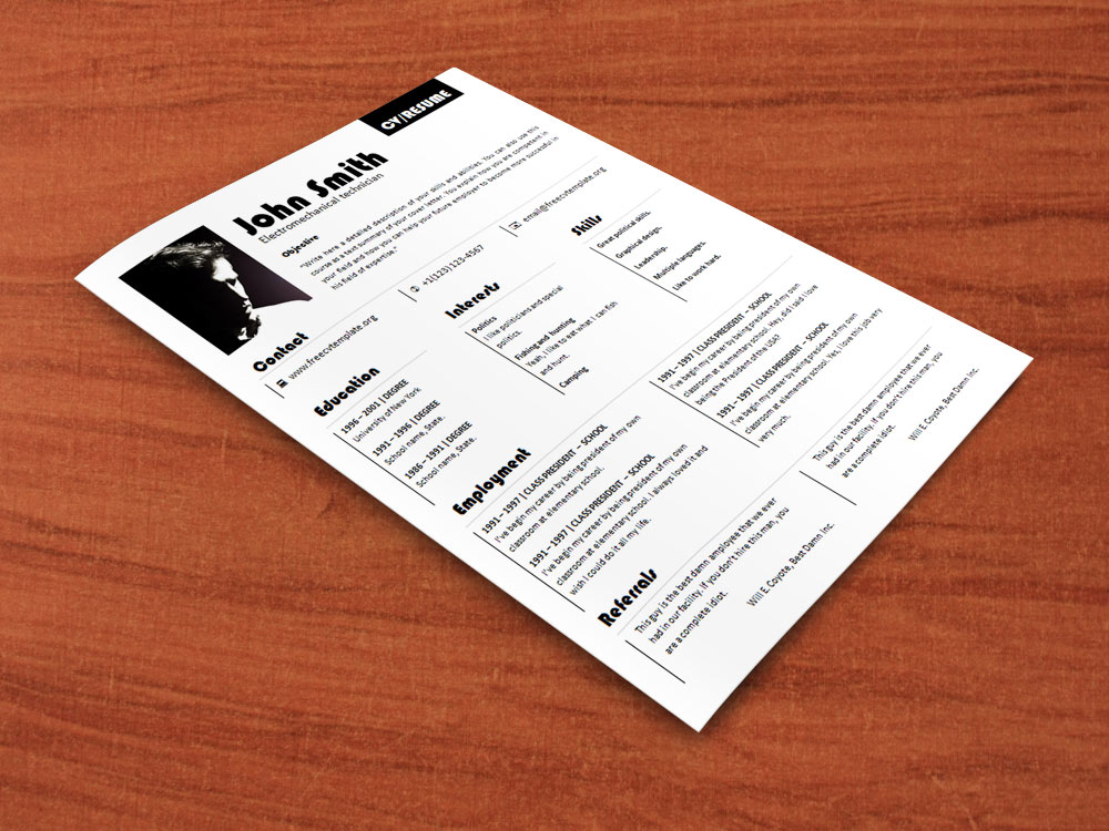 CV resume template with picture (616)