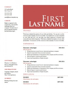Cv resume word template #654