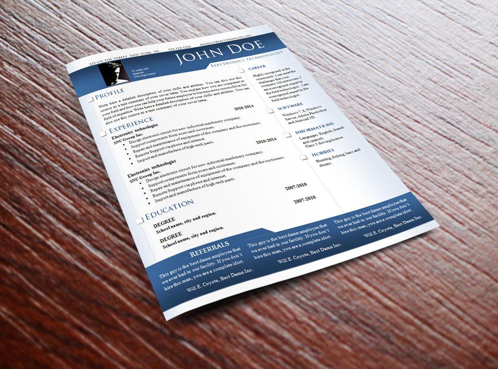 CV Résumé Template #639 to 645