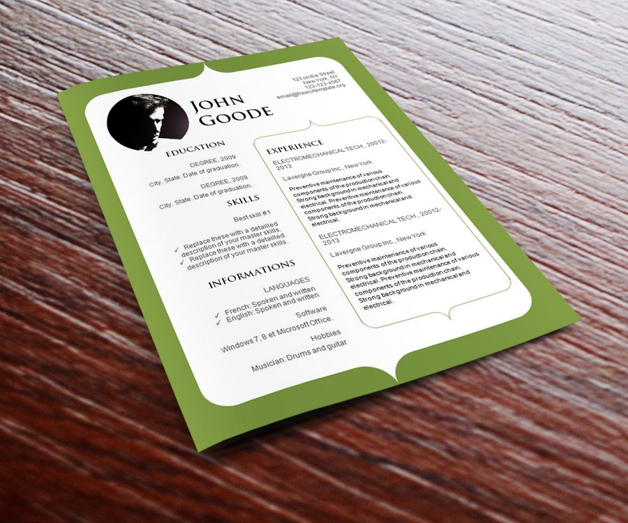 Word resume template (#777 – 783)