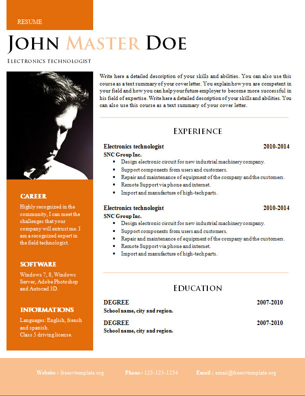 creative design resume  doc format   820
