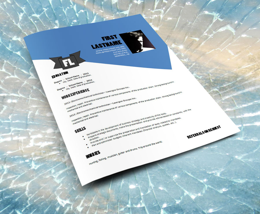 DESIGN_RESUME_TEMPLATE_DOC_FORMAT_883_on_broken_glass