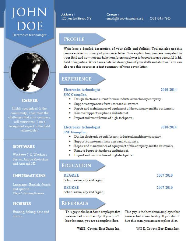 curriculum vitae resume word template  904