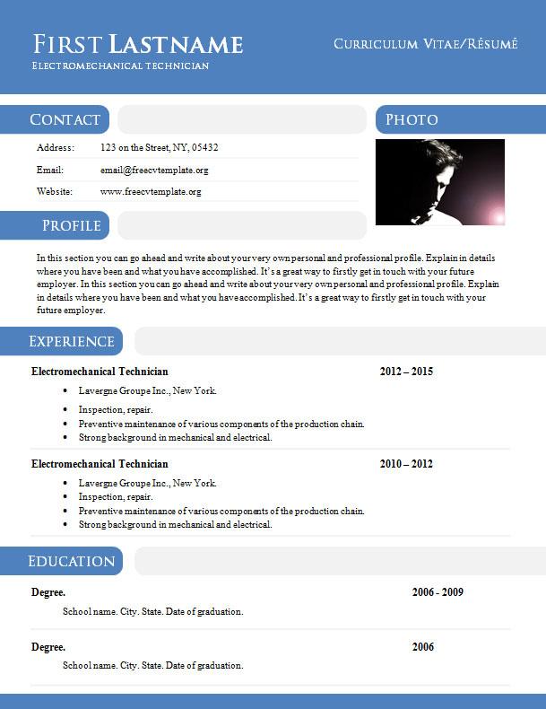curriculum vitae r u00e9sum u00e9 template in  doc format  897