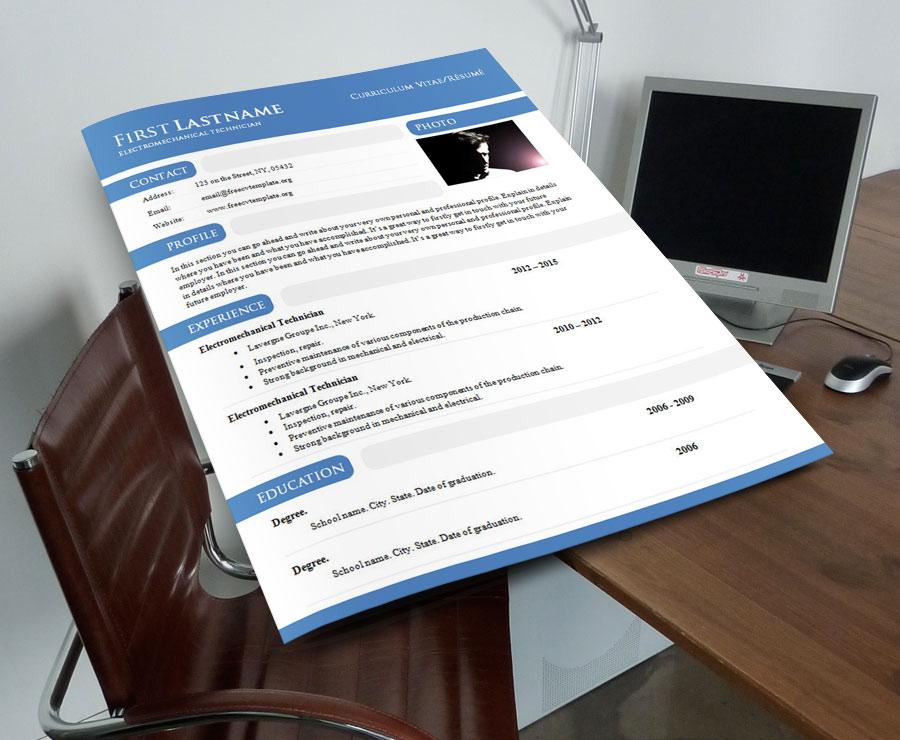 Curriculum vitae résumé template in .DOC format(#897 – 903)