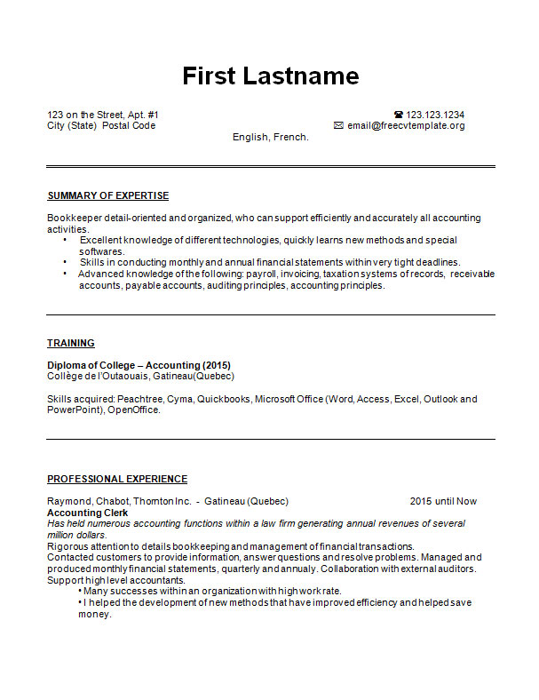 cv_bookkeeper_resume_example_page1