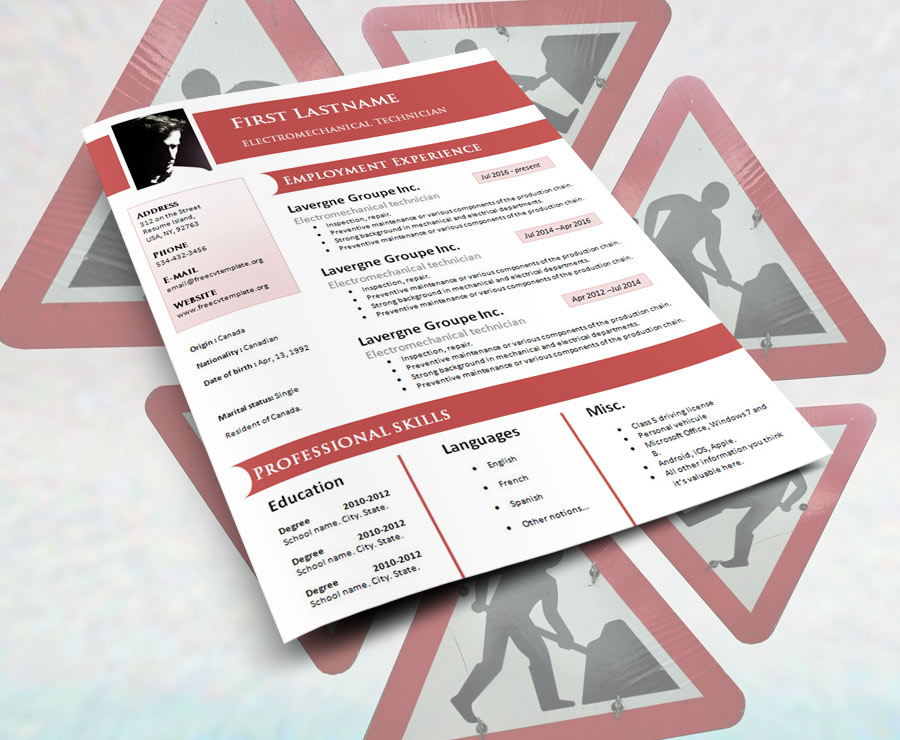 Free design resume cv template (#925 to 931)