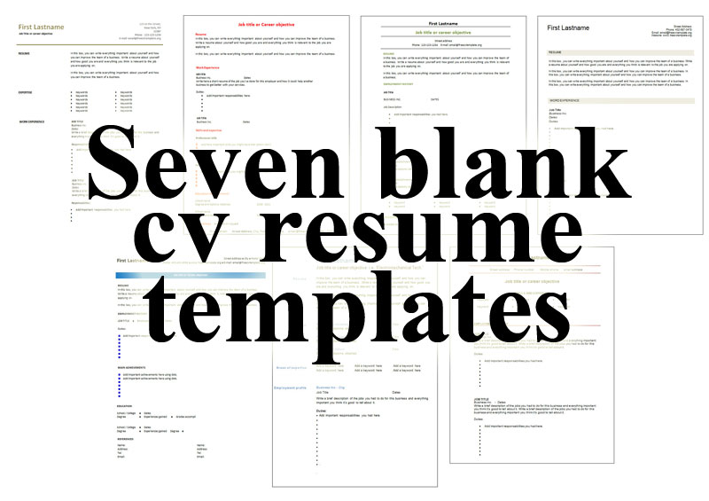 seven_blank_cv_resume_templates