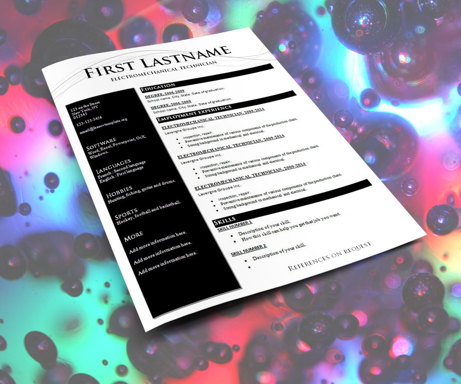 CV Résumé Template #1027-1033 | 7 Color Themes
