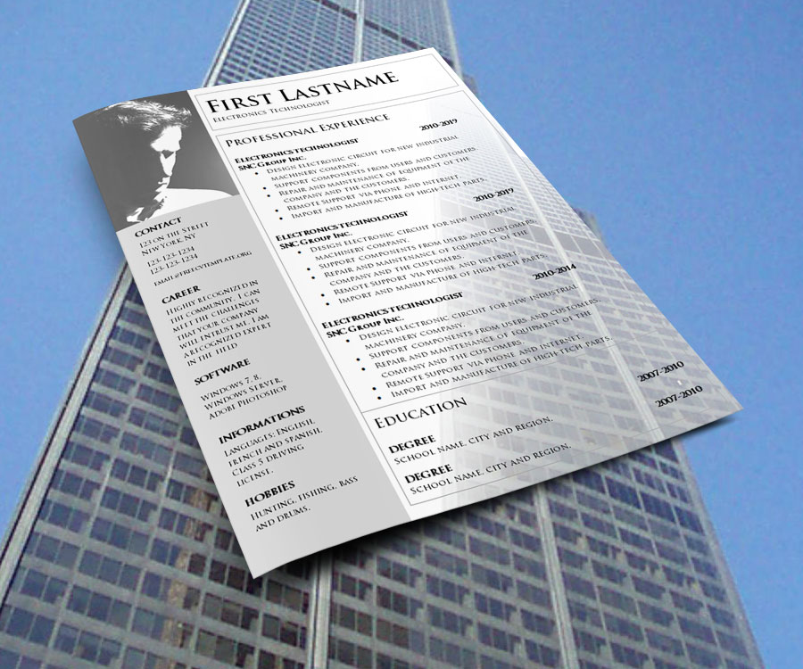 No Charge CV Template to Print in Word Format (1060)