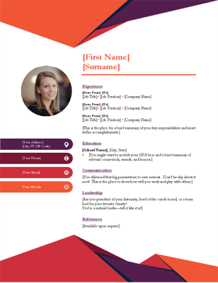 Contemporary photo resume