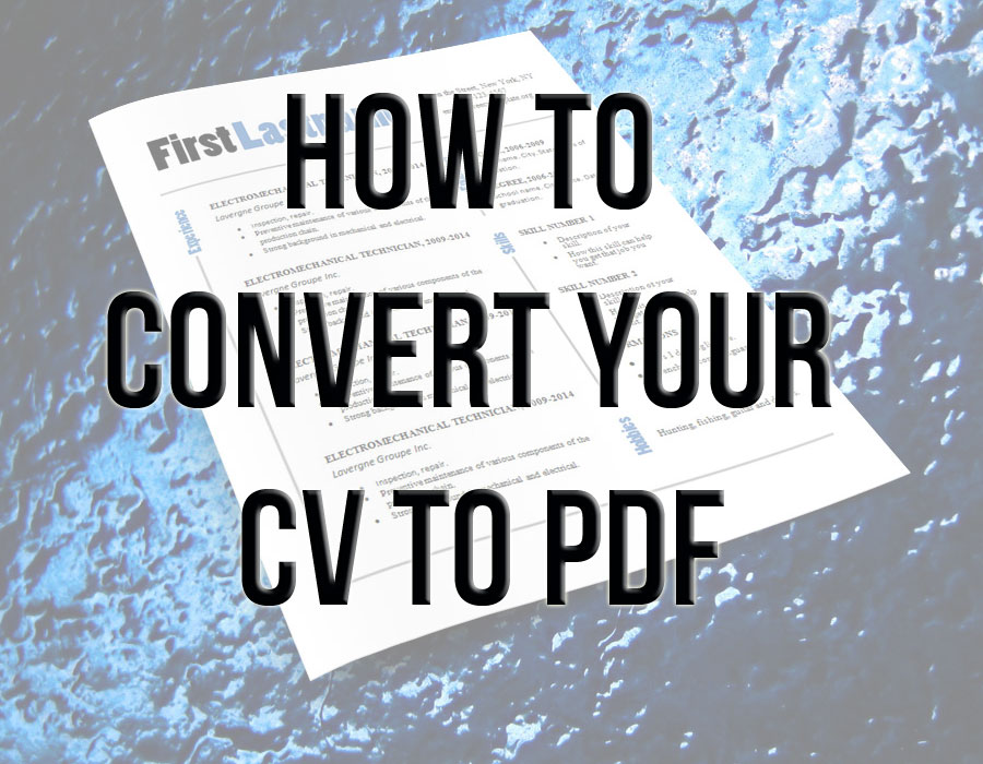 How to convert your CV to PDF