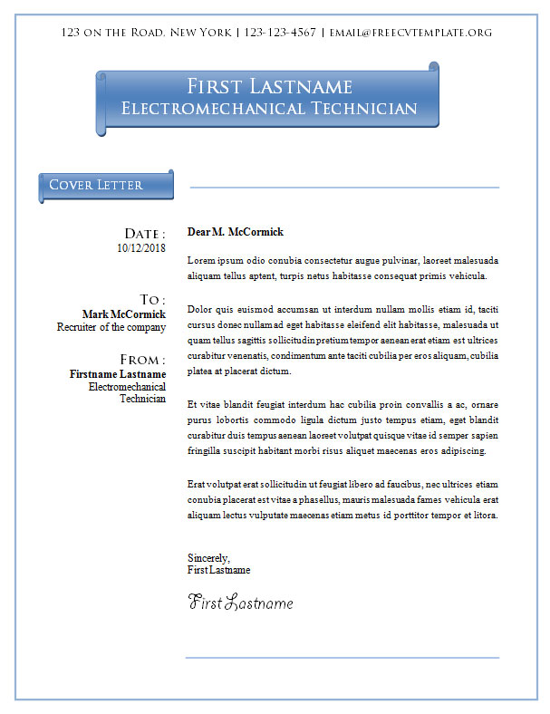 Cover Letter Template #10