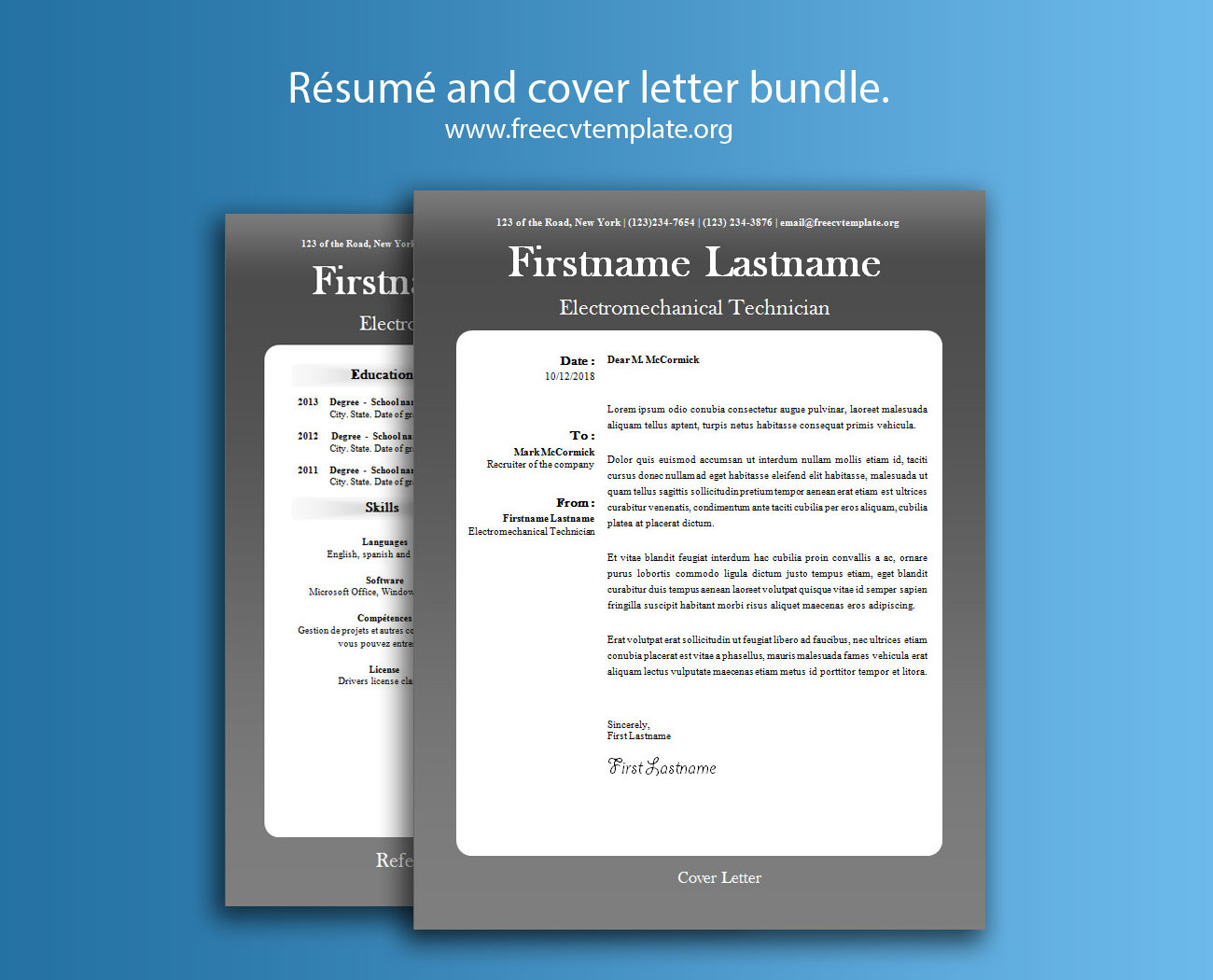 Résumé and Cover Letter Bundle #4