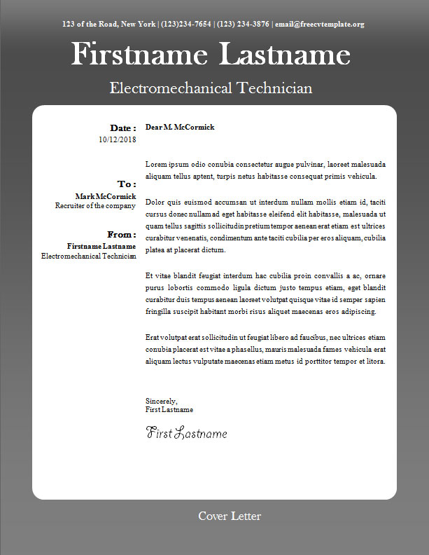 Cover letter blank template