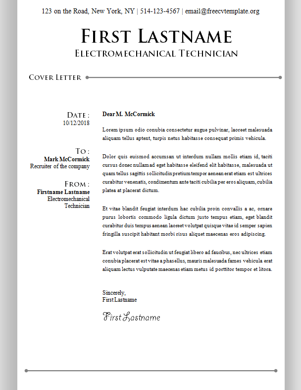 Cover Letter Template #14