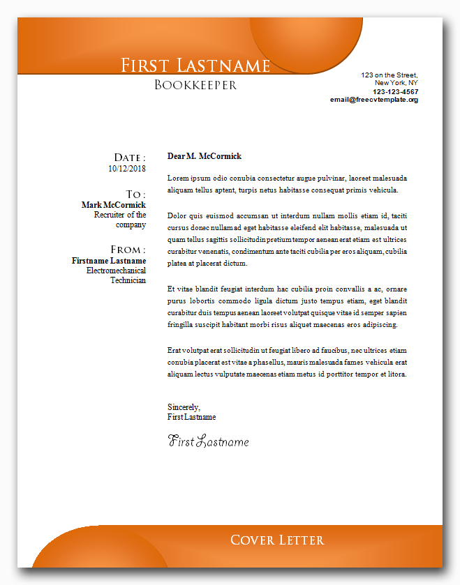 Cover Letter Template #21