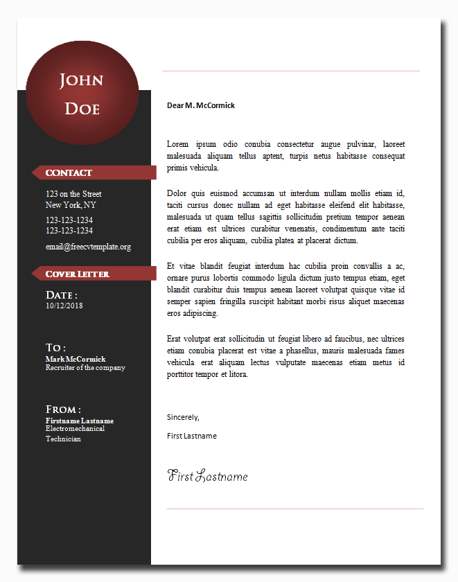 Cover Letter Template #23