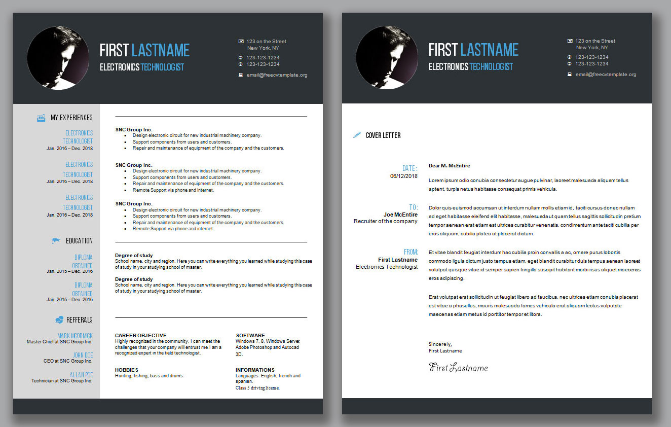 CV Résumé Template and Cover Letter #1