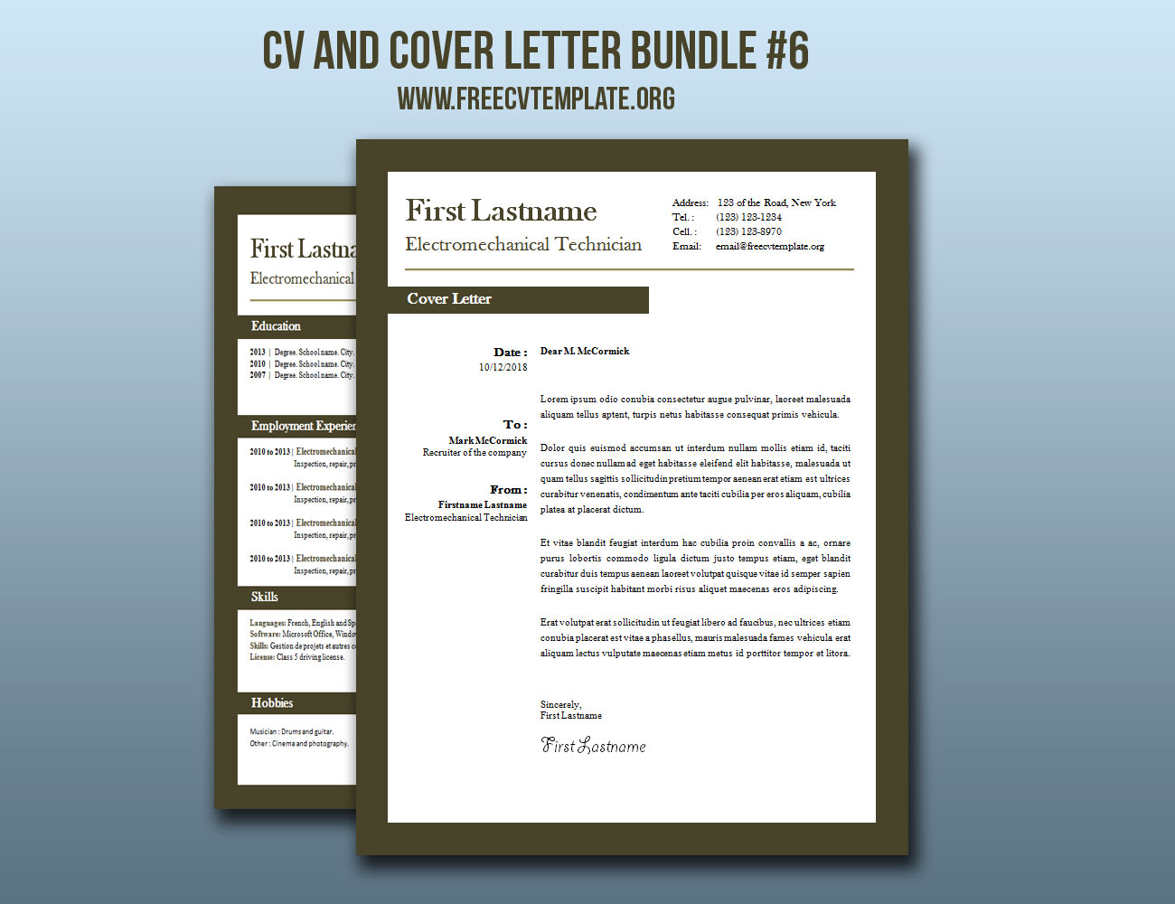 CV and Cover Letter Bundle #6