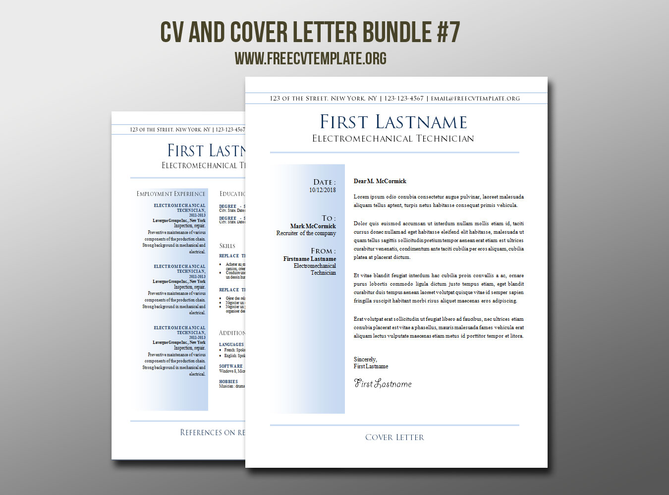 CV and Cover Letter Bundle #7