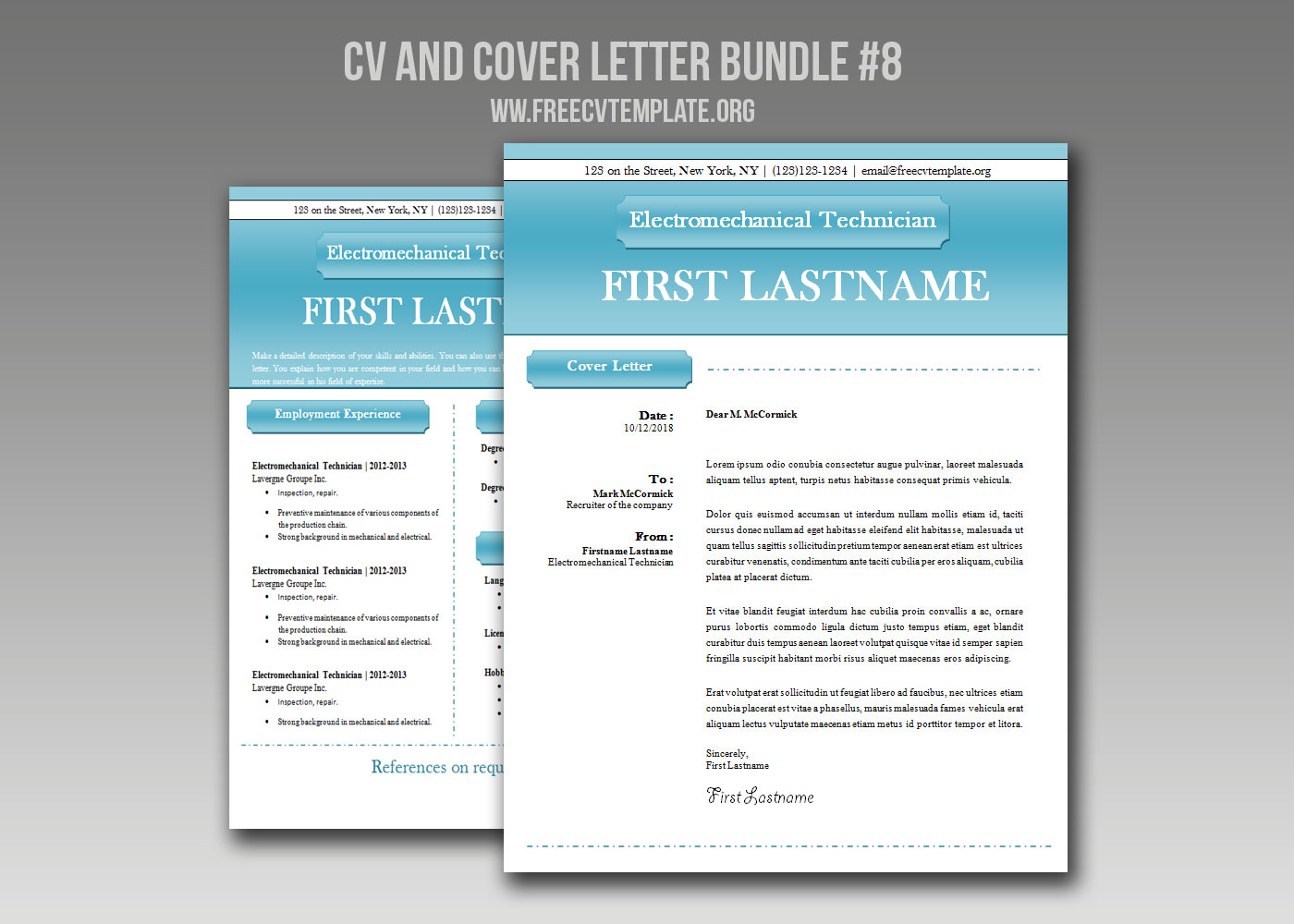CV and Cover Letter Bundle #8