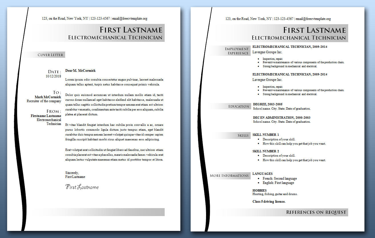 CV and Cover Letter Bundle #16