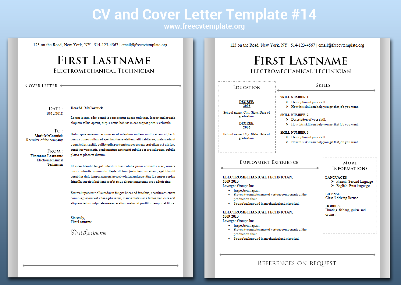 CV and Cover Letter Bundle #14