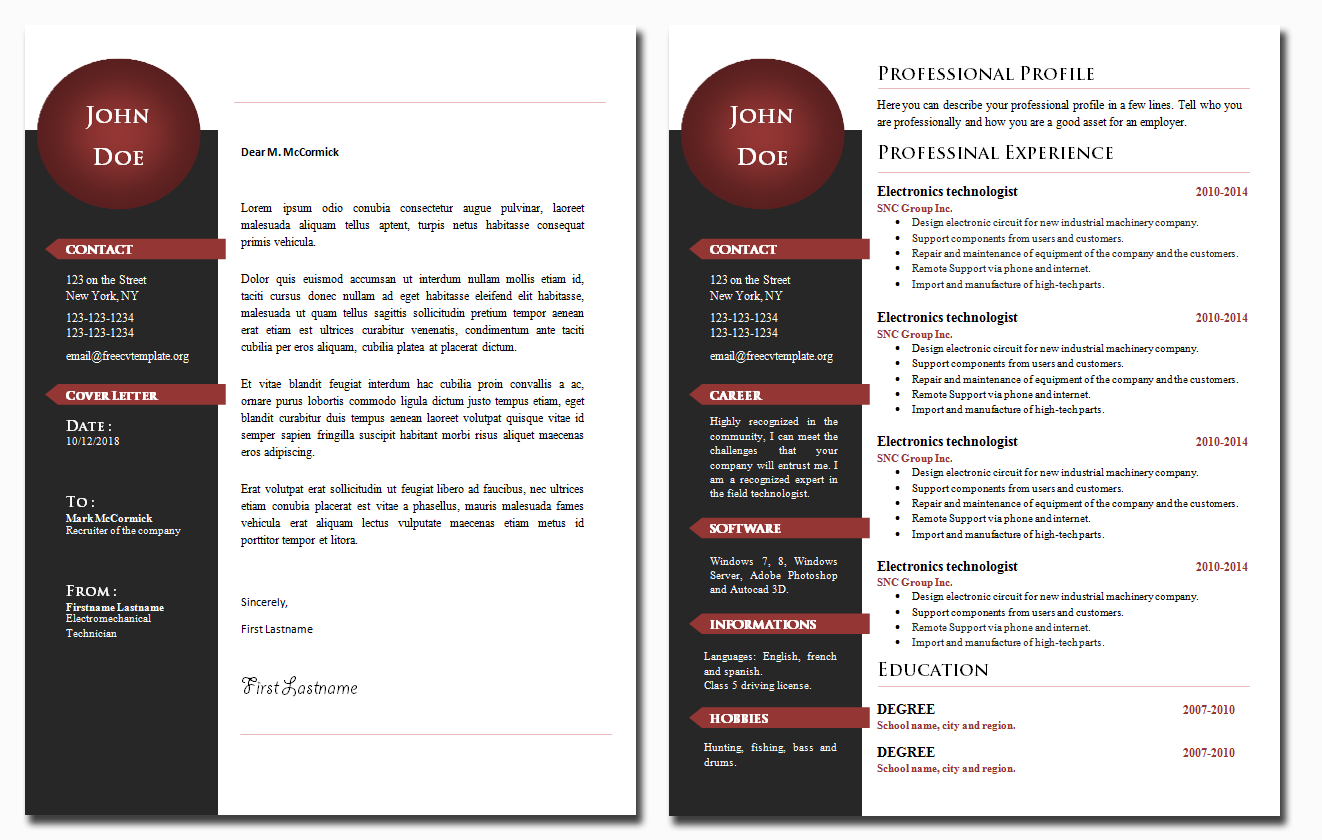 CV and Cover Letter Template #23