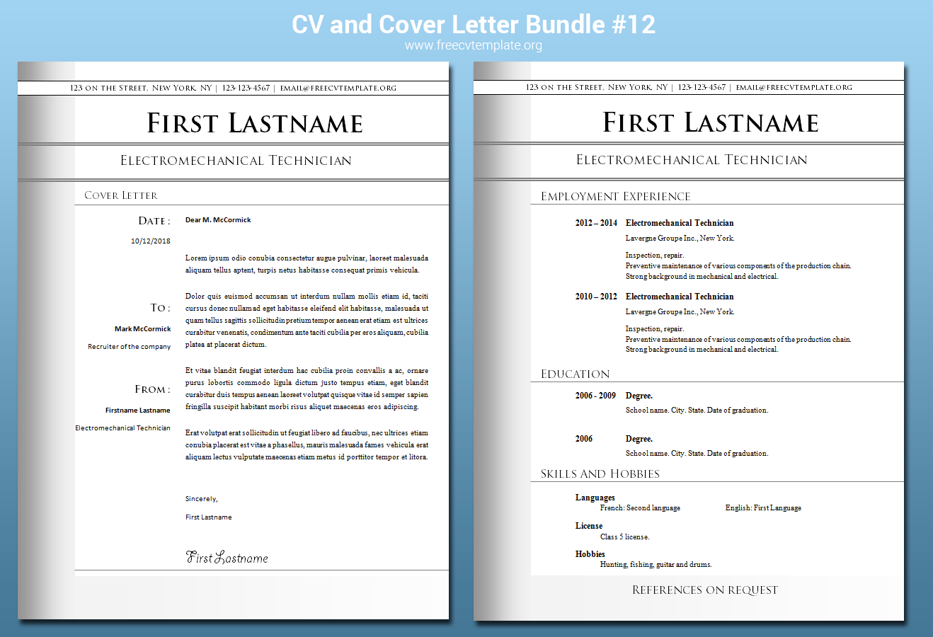 CV and Cover Letter Bundle #12