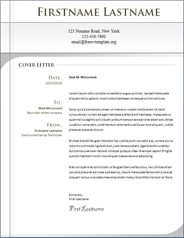 CV Cover Letter #1063