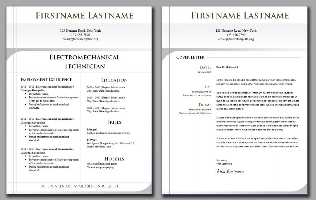 cv template and cover letter bundle